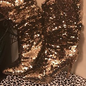 SEQUIN GOLD MID CALF BOOTS